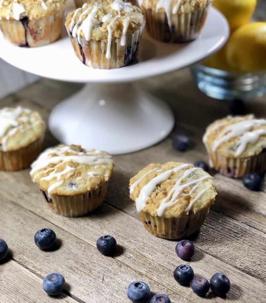 Blueberry muffins with a Lemon Glaze