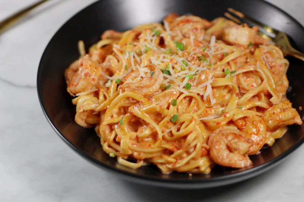 Shrimp Fettuccine with a Roasted Red Pepper Sauce