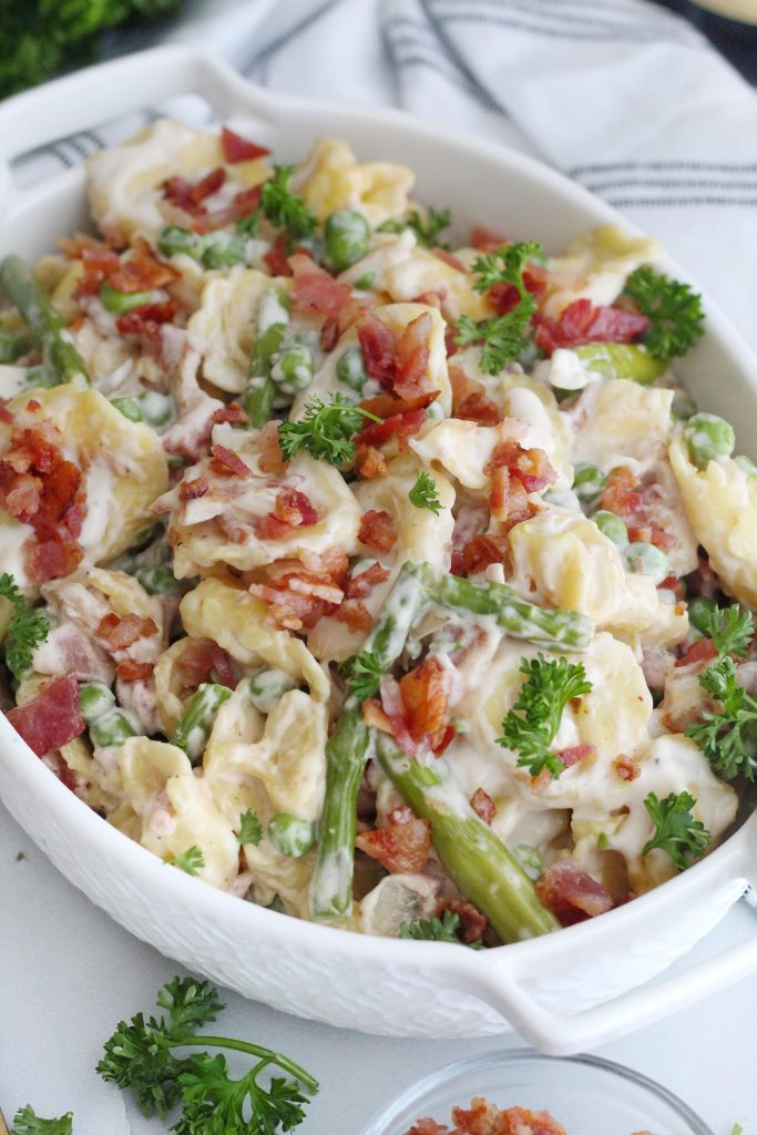 Tortellini with Peas Asparagus and Bacon