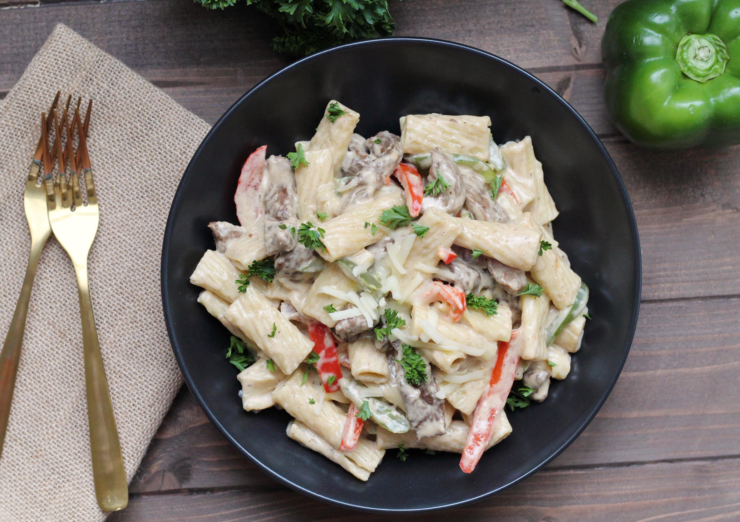 One Pot Philly Cheese Steak Pasta