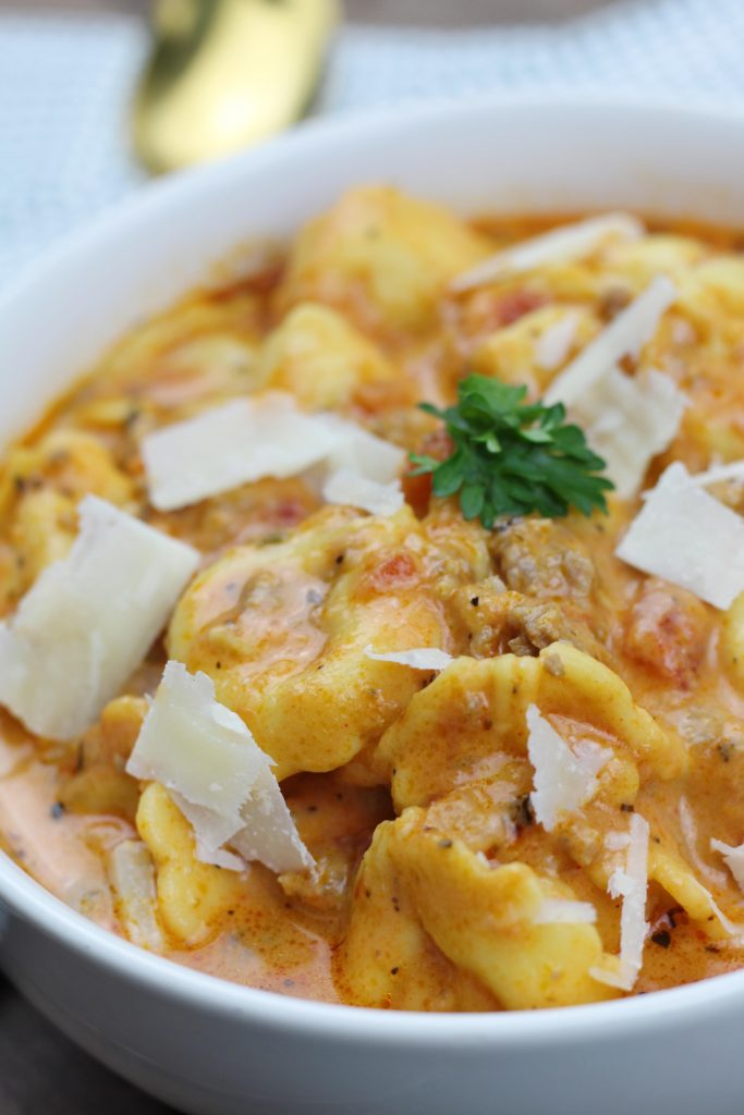 One Pot Italian Sausage Tortellini Soup