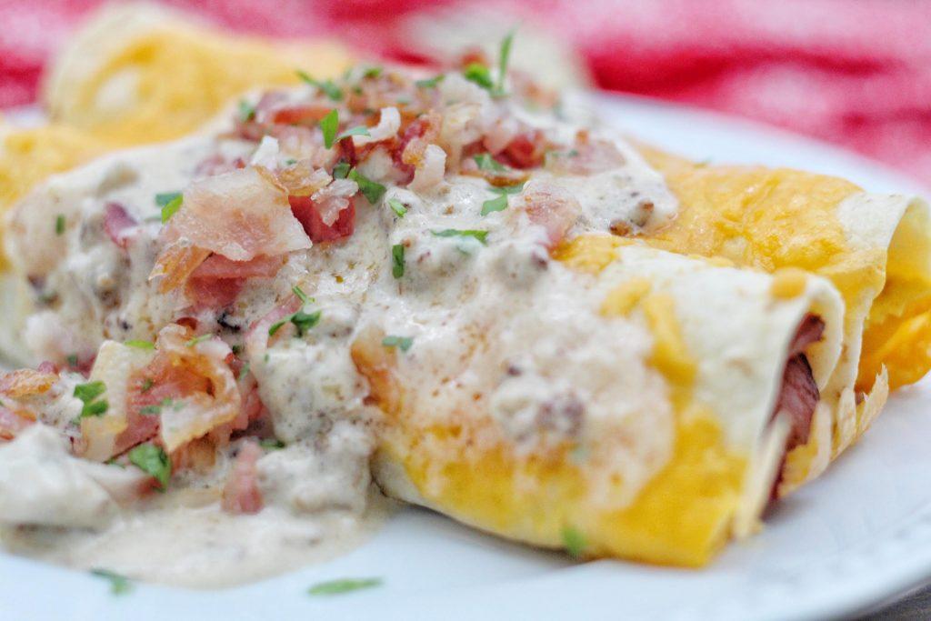 Breakfast Enchiladas with Sausage Gravy