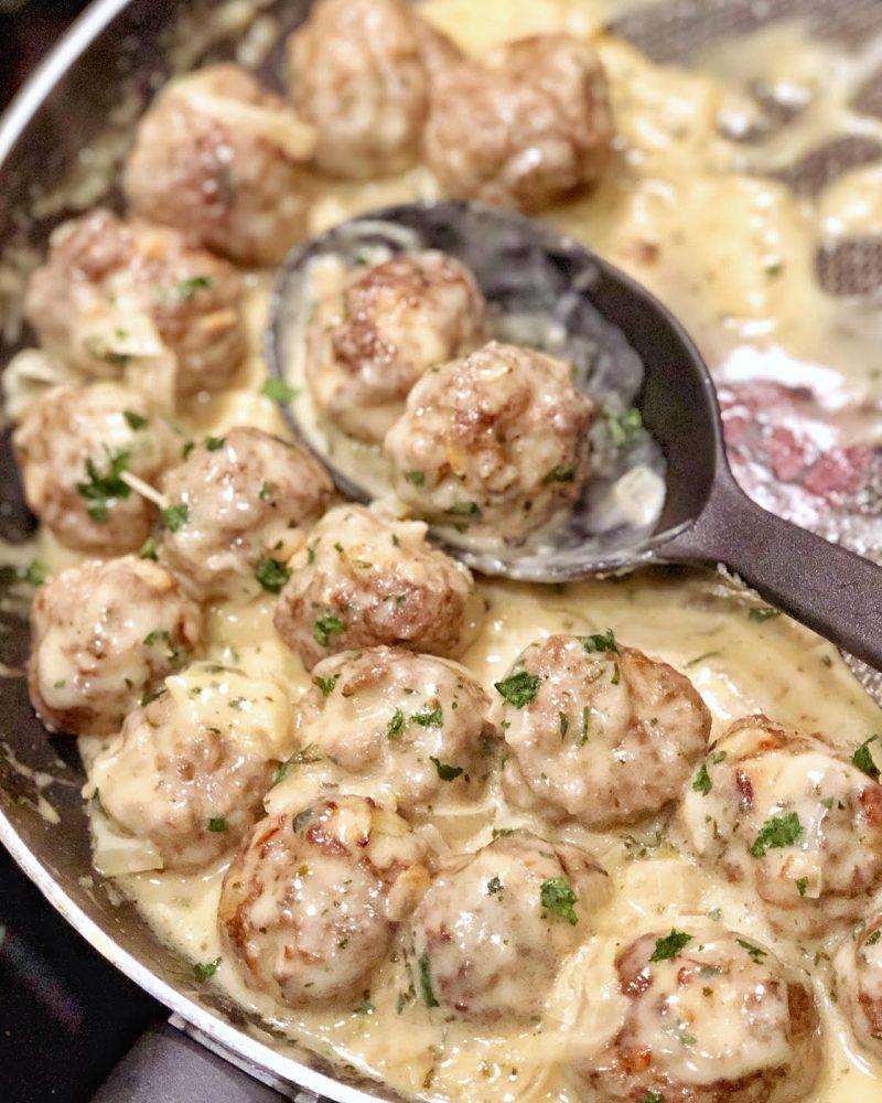 Meatballs in Dijon Gravy