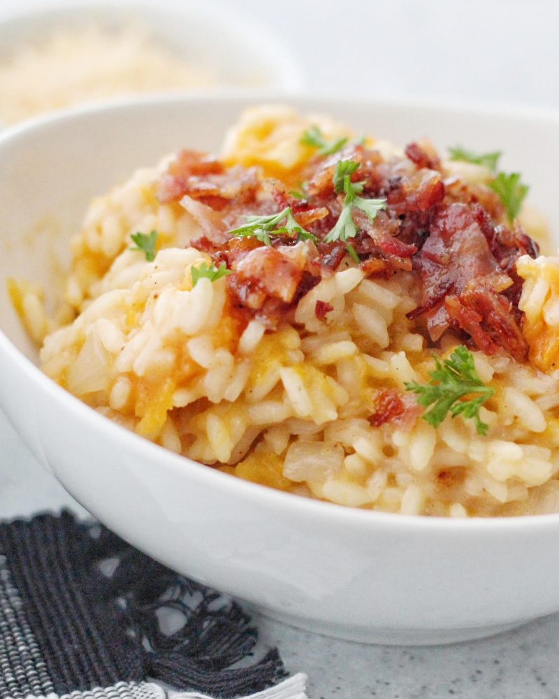 Butternut Squash Risotto with Candied Bacon