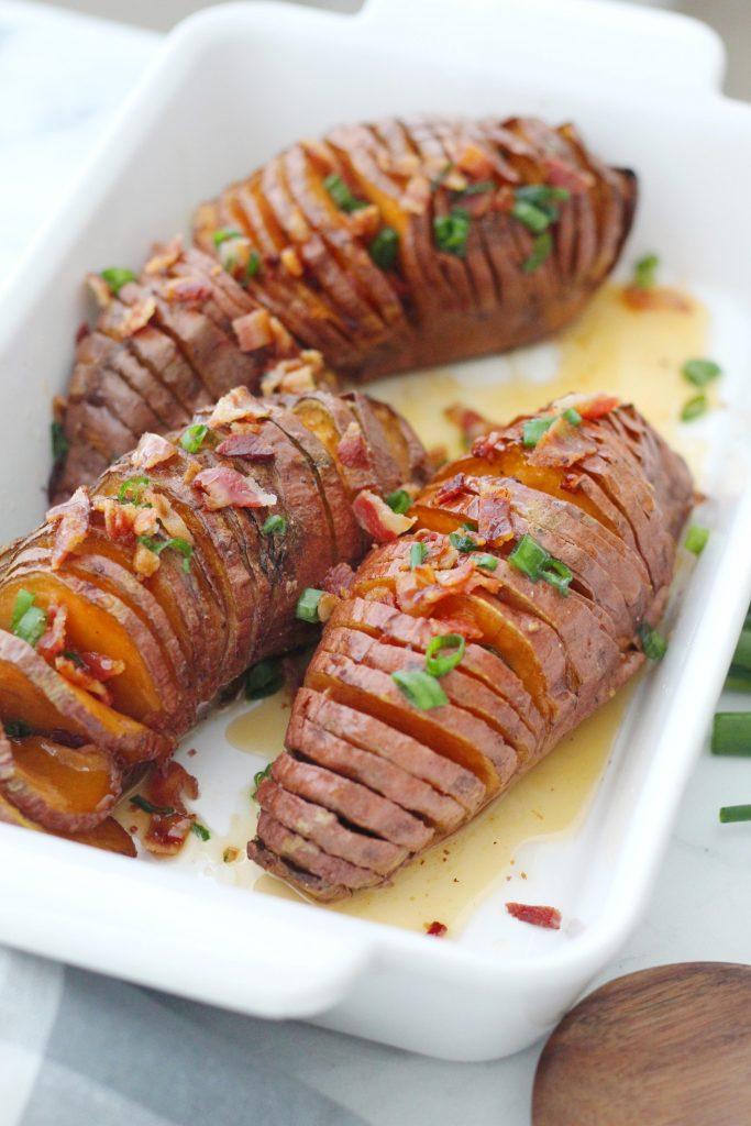 Hasselback Sweet Potatoes with Hot Honey