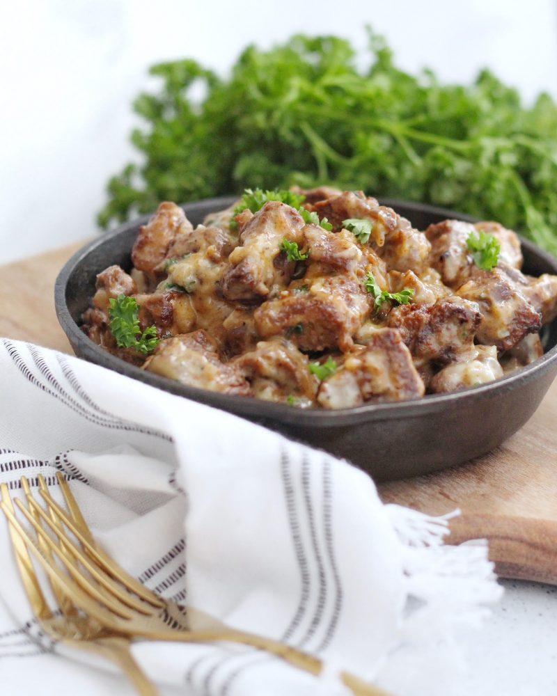 Steak Bites in Dijon Gravy