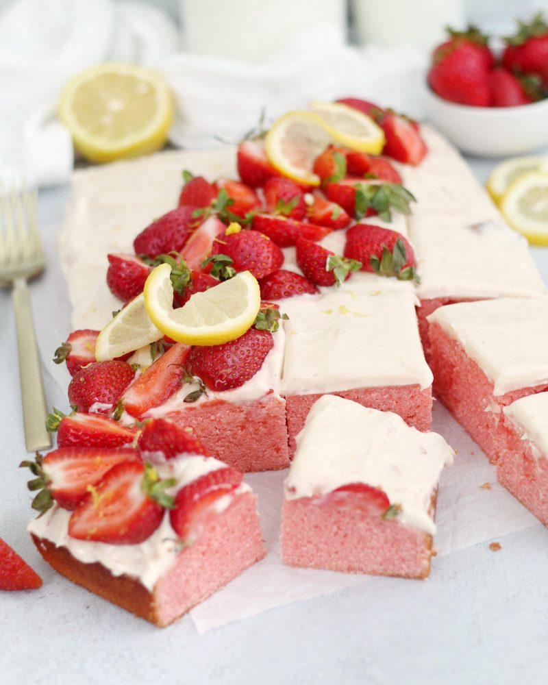 Strawberry Lemonade Sheet Cake
